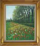 Gorgeous Colorful Flowery Fields in Spring Oil Painting Landscape Tulip Impressionism Gold Wood Frame with Deco Corners 31 x 27 inches