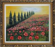 Alpine Flower Meadow Oil Painting Landscape Field Italy Naturalism Ornate Antique Dark Gold Wood Frame 26 x 30 inches