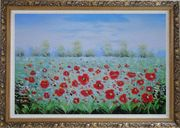 A Sea Of Red Poppy in Spring Oil Painting Landscape Field Impressionism Ornate Antique Dark Gold Wood Frame 30 x 42 inches