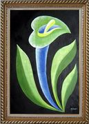 Green, Blue Arum Lily in Black Background Oil Painting Flower Decorative Exquisite Gold Wood Frame 42 x 30 inches