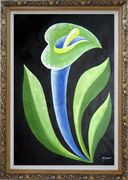 Green, Blue Arum Lily in Black Background Oil Painting Flower Decorative Ornate Antique Dark Gold Wood Frame 42 x 30 inches