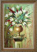 Red, White Tulip Flowers in Vase on Pillar Oil Painting Still Life Bouquet Modern Exquisite Gold Wood Frame 42 x 30 inches