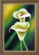 Light Yellow Calla Lilies In Green Background Oil Painting Flower Lily Decorative Exquisite Gold Wood Frame 42 x 30 inches