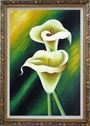 Light Yellow Calla Lilies In Green Background Oil Painting Flower Lily Decorative Ornate Antique Dark Gold Wood Frame 42 x 30 inches