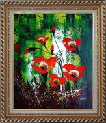 Magnificent Red Flowers Sing in Green Oil Painting Impressionism Exquisite Gold Wood Frame 30 x 26 inches
