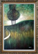 Green Trees by Small Path Oil Painting Landscape Decorative Ornate Antique Dark Gold Wood Frame 42 x 30 inches