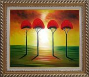 Four Glorious Red Trees at Sunset Oil Painting Landscape Modern Exquisite Gold Wood Frame 26 x 30 inches