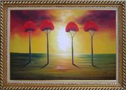 Four Glorious Red Trees at Sunset Oil Painting Landscape Modern Exquisite Gold Wood Frame 30 x 42 inches