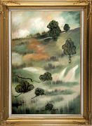 Wasteland Oil Painting Landscape Tree Modern Gold Wood Frame with Deco Corners 43 x 31 inches