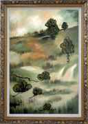 Wasteland Oil Painting Landscape Tree Modern Ornate Antique Dark Gold Wood Frame 42 x 30 inches