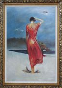 Beautiful Girl with Red Long Skirt Oil Painting Portraits Woman Impressionism Ornate Antique Dark Gold Wood Frame 42 x 30 inches