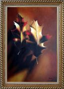 Two Elegant Brown Leaves in Autumn Oil Painting Still Life Decorative Exquisite Gold Wood Frame 42 x 30 inches