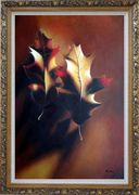 Two Elegant Brown Leaves in Autumn Oil Painting Still Life Decorative Ornate Antique Dark Gold Wood Frame 42 x 30 inches