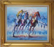 Spur on Galloping Horses in Racing Oil Painting Portraits Animal Modern Gold Wood Frame with Deco Corners 27 x 31 inches