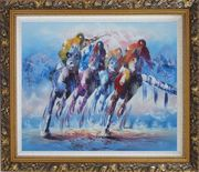 Spur on Galloping Horses in Racing Oil Painting Portraits Animal Modern Ornate Antique Dark Gold Wood Frame 26 x 30 inches