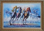 Spur on Galloping Horses in Racing Oil Painting Portraits Animal Modern Exquisite Gold Wood Frame 30 x 42 inches