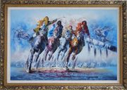 Spur on Galloping Horses in Racing Oil Painting Portraits Animal Modern Ornate Antique Dark Gold Wood Frame 30 x 42 inches