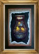Precious Vase Oil Painting Still Life Modern Gold Wood Frame with Deco Corners 43 x 31 inches