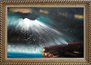 Seagulls Flying around Rock Oil Painting Seascape Impressionism Exquisite Gold Wood Frame 30 x 42 inches