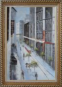 Winter Snow Covered City Street at Christmas Time Oil Painting Cityscape America Impressionism Exquisite Gold Wood Frame 42 x 30 inches