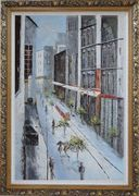 Winter Snow Covered City Street at Christmas Time Oil Painting Cityscape America Impressionism Ornate Antique Dark Gold Wood Frame 42 x 30 inches