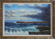 Sea Waves, Birds and Boats at Coastline Oil Painting Seascape Naturalism Ornate Antique Dark Gold Wood Frame 30 x 42 inches
