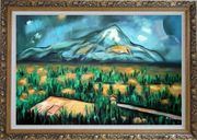 Mont Sainte-Victorie Oil Painting Landscape Mountain Post Impressionism Ornate Antique Dark Gold Wood Frame 30 x 42 inches