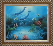 Magical Underwater Sea World Oil Painting Animal Marine Life Dolphin Fish Naturalism Exquisite Gold Wood Frame 26 x 30 inches