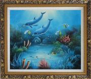 Magical Underwater Sea World Oil Painting Animal Marine Life Dolphin Fish Naturalism Ornate Antique Dark Gold Wood Frame 26 x 30 inches