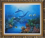 The Wonderful Sea World Oil Painting Animal Marine Life Dolphin Fish Naturalism Ornate Antique Dark Gold Wood Frame 26 x 30 inches