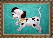 Dog on Green Background Oil Painting Animal Modern Exquisite Gold Wood Frame 30 x 42 inches