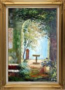 Charming Seaside Garden Porch Oil Painting Impressionism Gold Wood Frame with Deco Corners 43 x 31 inches