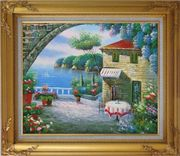 Peaceful Moment Oil Painting Mediterranean Naturalism Gold Wood Frame with Deco Corners 27 x 31 inches