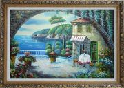 Peaceful Moment Oil Painting Mediterranean Naturalism Ornate Antique Dark Gold Wood Frame 30 x 42 inches