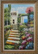 Seashore Garden Steps Oil Painting Naturalism Exquisite Gold Wood Frame 42 x 30 inches