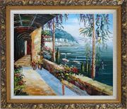 Scenic View of Mediterranean Floral Patio Oil Painting Naturalism Ornate Antique Dark Gold Wood Frame 26 x 30 inches