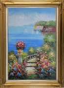 Steps by the Bay Oil Painting Mediterranean Naturalism Gold Wood Frame with Deco Corners 43 x 31 inches
