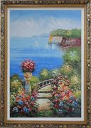Steps by the Bay Oil Painting Mediterranean Naturalism Ornate Antique Dark Gold Wood Frame 42 x 30 inches