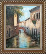 Small Boat Across Bridge in Venice Water Canal Oil Painting Italy Impressionism Exquisite Gold Wood Frame 30 x 26 inches