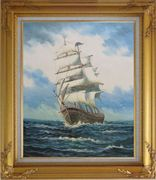 A Big Barque Sailing Ship's  Ocean Journey Oil Painting  Gold Wood Frame with Deco Corners 31