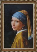 Girl with a Pearl Earring - Jan Vermeer Reproduction Oil Painting Portraits Woman Classic Exquisite Gold Wood Frame 42 x 30 inches