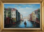 Italian Venice Water Street Scene Oil Painting Italy Naturalism Gold Wood Frame with Deco Corners 31 x 43 inches