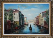 Italian Venice Water Street Scene Oil Painting Italy Naturalism Ornate Antique Dark Gold Wood Frame 30 x 42 inches