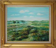 Panoramic View of Countryside Oil Painting Landscape Naturalism Gold Wood Frame with Deco Corners 27 x 31 inches