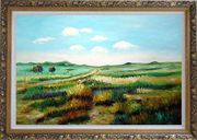 Panoramic View of Countryside Oil Painting Landscape Naturalism Ornate Antique Dark Gold Wood Frame 30 x 42 inches