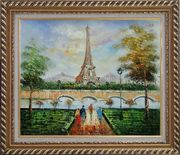 Figures, Eiffel Tower, and The Seine River at Spring Oil Painting Cityscape France Impressionism Exquisite Gold Wood Frame 26 x 30 inches