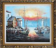 Fishing Boats on Port At Sunset Oil Painting Naturalism Ornate Antique Dark Gold Wood Frame 26 x 30 inches