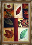 Leaves on Patches Oil Painting Still Life Decorative Exquisite Gold Wood Frame 42 x 30 inches