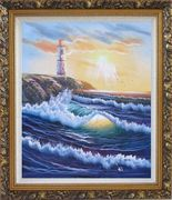 Lighthouse, Sea Waves, Cliffs, Seagulls at Sunset Oil Painting Seascape Naturalism Ornate Antique Dark Gold Wood Frame 30 x 26 inches