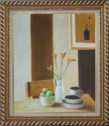Vase of Flower, Coffee Cup, Fruit on Table Oil Painting Still Life Modern Exquisite Gold Wood Frame 30 x 26 inches